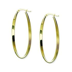 10kt Yellow Gold Oval Textured Hoop Earrings