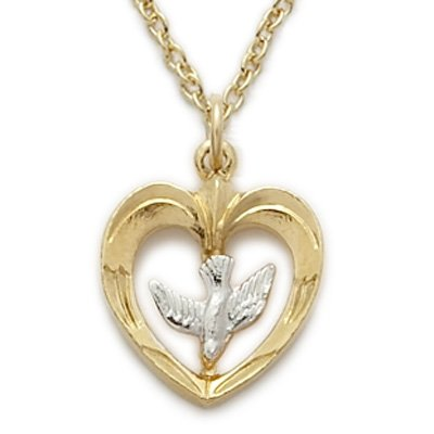 14K Yellow Gold Filled Dove Necklace in a 2-Tone