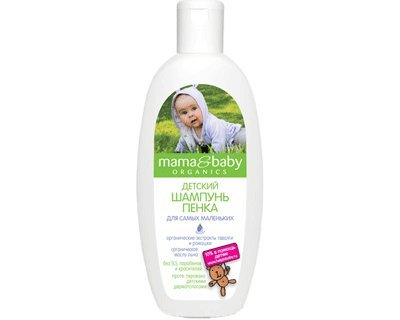 Baby Shampoo-Bubble with Organic Meadowsweet, Chamomile Extracts and Flaxseed Oil 300 ml (Mama & Baby)