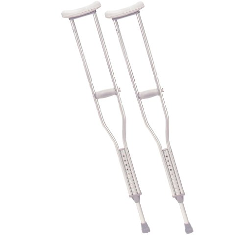Drive Medical Tall Adult Walking Crutches With Underarm Pad And Handgrip, Gray front-1036597