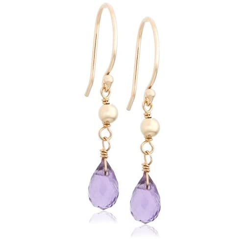 14k Yellow Gold, February Birthstone, Amethyst Briolette Hook Earrings