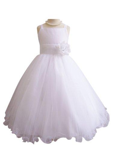 Classykidzshop White Spaghetti Straps Poly Satin Tea-Length Special Occasion Dress - 2T White/White