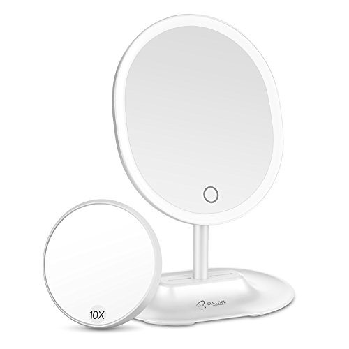BESTOPE LED Makeup Mirror with 1X/10X Magnification, Natural Lighted Vanity Mirror Touch Screen, USB & Battery Power Supply, Oval Shaped Dimmable Countertop Cosmetic Makeup Mirror