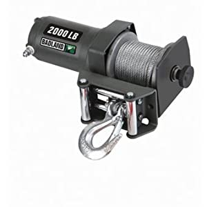 12 Volt 1 HP 2000 Lb. Capacity Portable Winch with with Automatic Load-Holding Brake for ATV/UTV from Badland Winches
