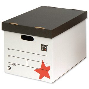 5 Star Office Storage Box for 5 A4 Lever Arch Files W317xD384xH287mm White and Black (Pack of 10)