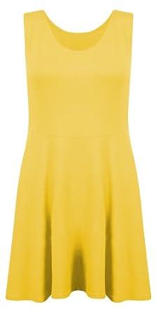 New Womens Ladies Jersey Skater Flared Stretch Sleeveless Mini Midi Skirt Dress - YELLOW - UK 12/14 (M/L) - (95% Viscose, 5% Elastane)