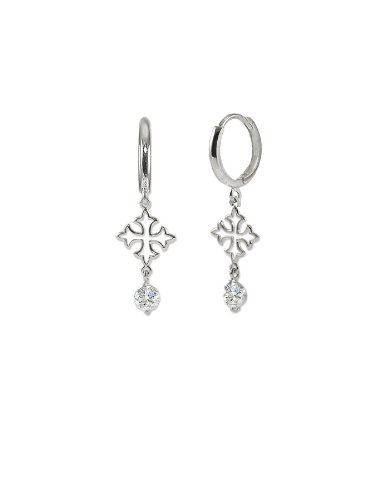 14k White Gold, Cross Design Dangling Drop Earring with Brilliant Created Gems