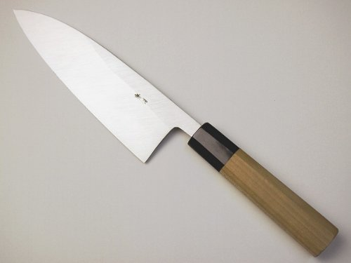 Deba fish knife 165mm, forged in traditional way Aogami Blue paper #2, Buffalo horn octagon handle