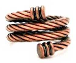 Copper Adjustable Magnetic Ring for Arthritis and Sports Pain Relief ~ Twisted Snake Design