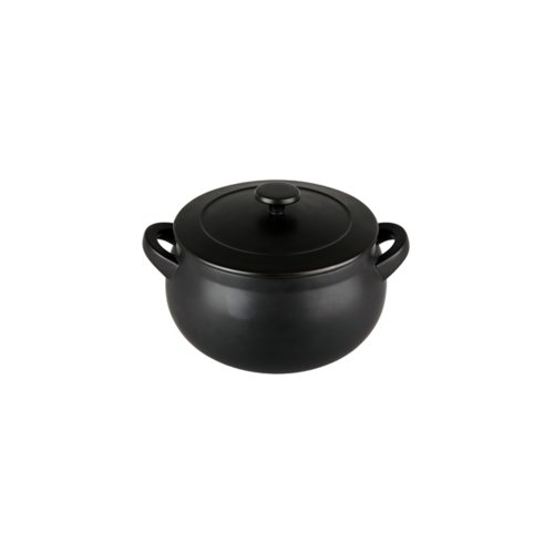 Denby Oven to Table Curved Bean Pot with Cover, 3.3-Liter, Black