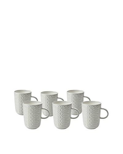 Classic Coffee & Tea Set of 6 Clover Leaf 10-Oz. Mugs, White