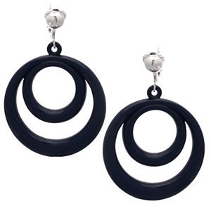 Amiela Silver Navy Blue Drop Clip On Earrings
