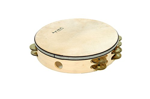 Tycoon Double Row Headed Wooden Tambourine with Bright Brass Jingles