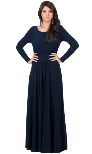 Koh Koh Women's Designer Round Neck Long Sleeve Maxi Dress – X-Large – Navy Blue