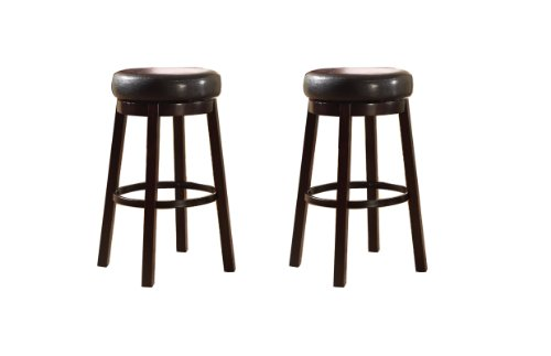 Roundhill Furniture Wooden Swivel Barstools, Bar Height, Bister Brown, Set of 2