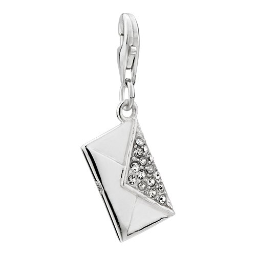 Envelope Clear Crystal Sterling Silver Clasp Pendant Charms For Girls