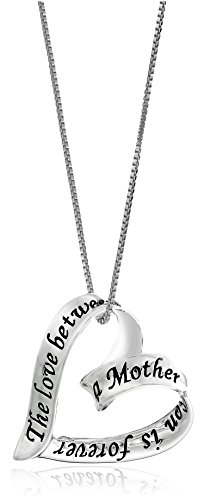 Sterling Silver Ribbon Heart The Love Between A Mother and Son Is Forever Pendant Necklace