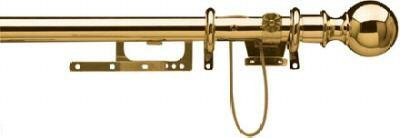 1.7m - 3.0m Finale Brass Extendable Curtain Pole with Cord and Ball Finials