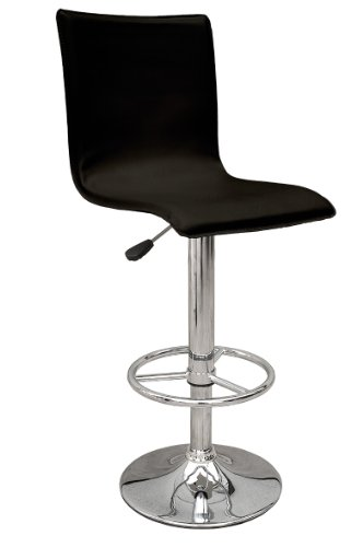 Premier Housewares Adjustable Bar Stool with Leather Effect Seat and Chrome Footrest and Base, Set of 2, 115 x 38 x 38 cm, Black