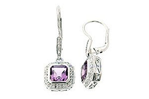 Clevereve Designer Series Cz All Around Sterling Silver Earrings W/ Octagon Cut Authentic Amethyst