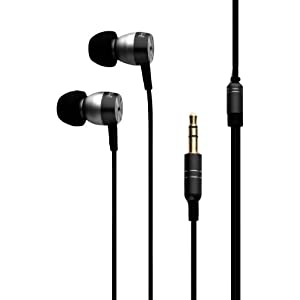 iHome iB24B Metal Noise Isolating Earphones with iPod/iPhone/iPad Controls/Mic and Pouch (Black)