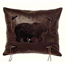 Wooded River Cabin Bear Leather Look Bear Pillow
