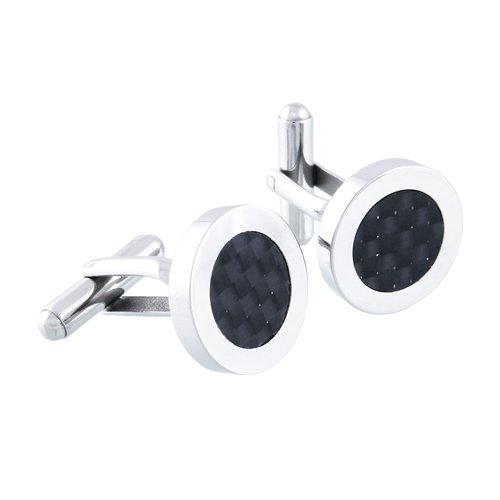 Men's Stainless Steel with Carbon Fiber Detail Round Cuff Links