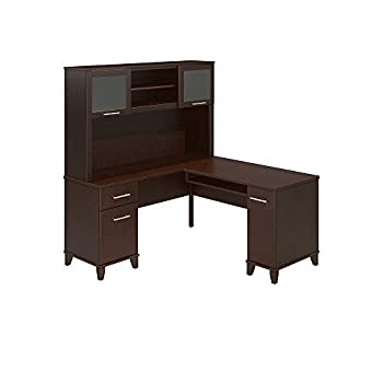 Somerset 60W L Shaped Desk with Hutch in Mocha Cherry