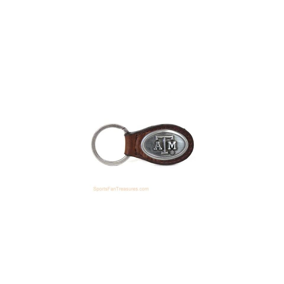 Texas A   M Brown Leather Key Ring   Fob