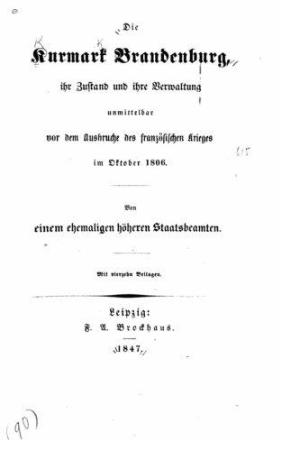 Die Kurmark Brandenburg, ihr Zustand und ihre Verwaltung