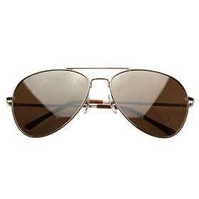 FULL MIRROR Mirrored Metal Aviator Sunglasses (Gold)