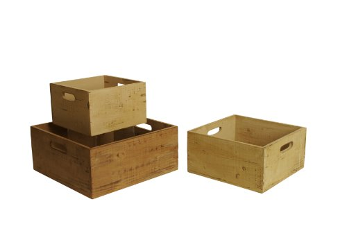 Wald Imports Square Distressed Rustic Wood Crates, Set of 3