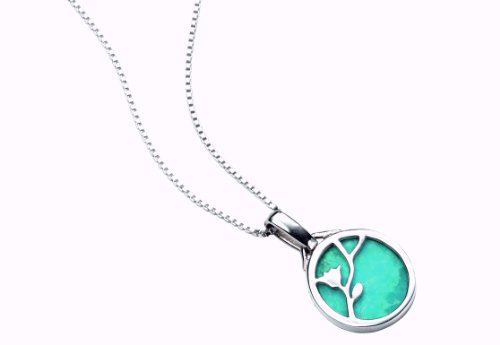 Elements Sterling Silver Ladies' P3346T Turquoise Disc Pendant with Flower Pattern, Length 46cm