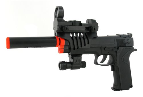 Electric Full Auto Tactical Model 2023A Pistol FPS-150, Silencer, Red Dot Scope, Flashlight, Blowback Airsoft Gun