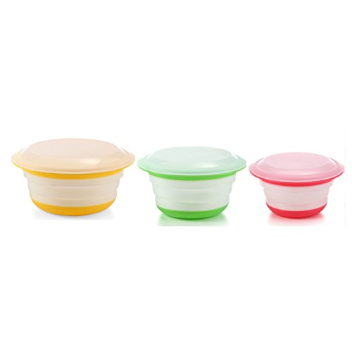 Neeshow Silicone Collapsible Storage Bowls with Lids-Set of 3 (Collapsible Storage Containers compare prices)