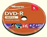 1x5 Memorex DVD-R 4.7GB 16x speed bulk