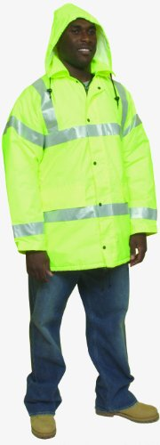 "Mutual 16370 High Visibility Polyester ANSI Class 3 Winter Parka Safety Coat with Heavy Insulation and 2"" Silver Reflective Stripes, X-Large, Lime"