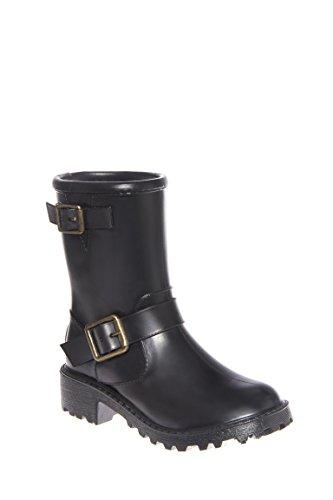 Girl's Moto Solid Rain Boot