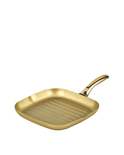 StoneGold By Bisetti 11 Grill Pan with a Polished Gold-Tone Handle