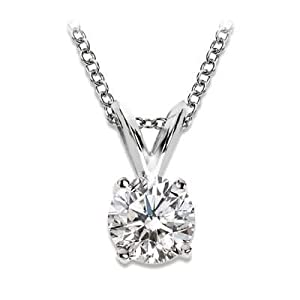 0.75 3/4 Carat 4 Prong Basket Setting Diamond Pendant Necklace in Platinum with a F-G Color I1-I2 Clarity Round Brilliant Cut Diamond with 14K Gold chain