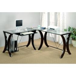 Buy Low Price Comfortable Computer Desk in Cappuccino / Glass Top – Coaster (B00409BF0G)