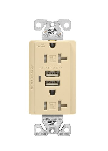 Cooper Wiring Devices Tr7746V-Box Combination Usb Charger With Tamper Resistant Receptacle And Box, 20-Amp, Ivory Finish