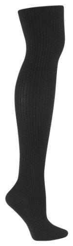 Sock It To Me Otk Black Rib Womens Thigh High Socks - One Size Fits Most