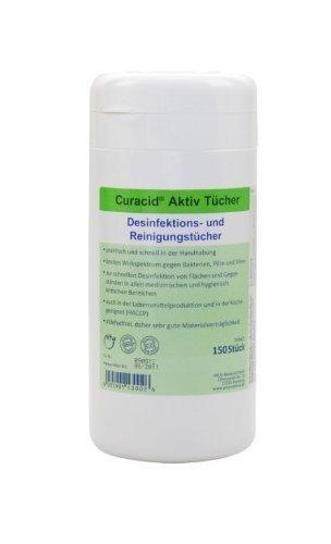 Curacid Aktiv Tücher - Desinfektionstücher in praktischer Spenderdose - 120 Stück