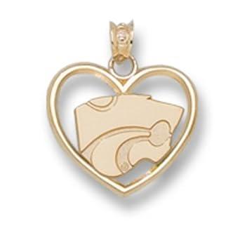 Kansas State Wildcats Powercat 3 8 Heart Pendant - 10KT Gold Jewelry by Logo Art