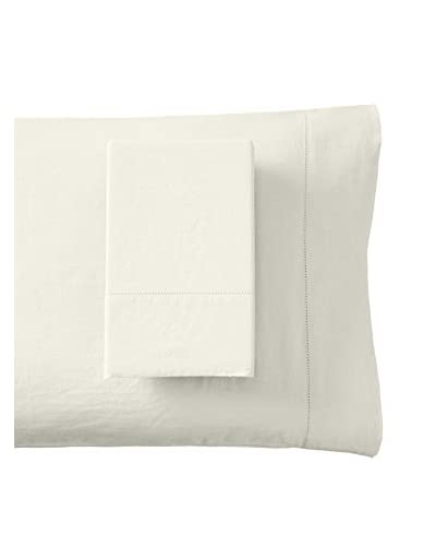 Mélange Home Prewashed Hemstitch Standard Pillowcase Set, Ivory