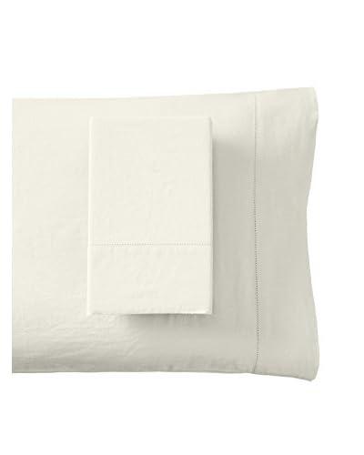 Mélange Home Prewashed Hemstitch Standard Pillowcase Set, Ivory