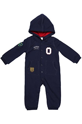 Oceankids Blu Navy Tuta stile casacca con bottoni e scatto, cappuccio e polsini a coste, da bambino e bambina 18-24 Mesi