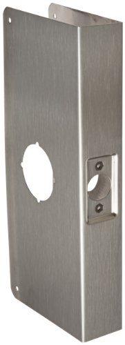 "Don-Jo 12-Cw 22 Gauge Stainless Steel Classic Wrap-Around Plate, Satin Stainless Steel Finish, 4-1/4"" Width X 12"" Height, For Cylinder Door Lock With 2-1/8"" Hole"