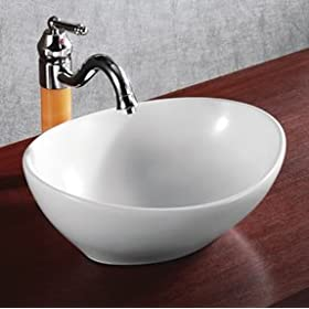 ELITE SINKS EC9838 Porcelain White Vessel Oval Deep Bowl Sink